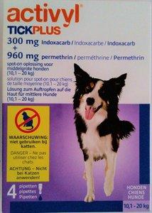 Activyl TICKPLUS|10,1-20kg|Voor Honden|4 Pipet